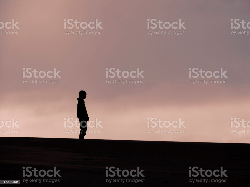 Single Man Standing on the Dunes at Dusk royalty-free stock photo