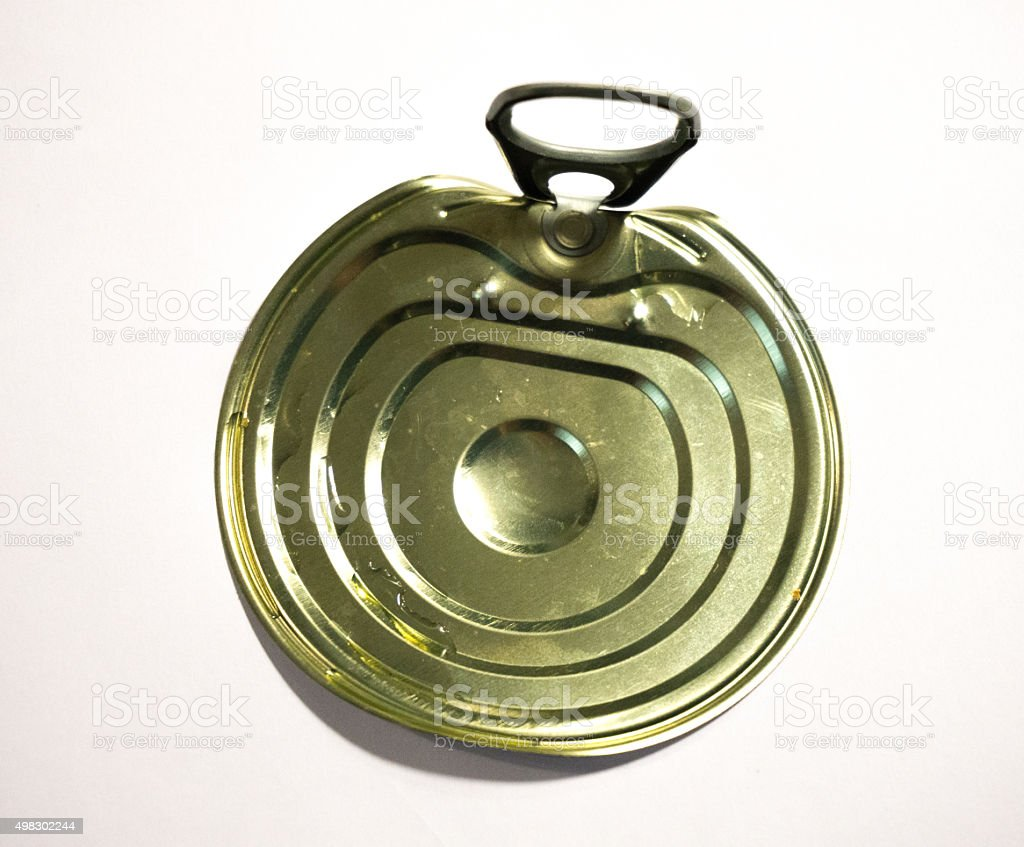 Single metal can cap isolated stock photo