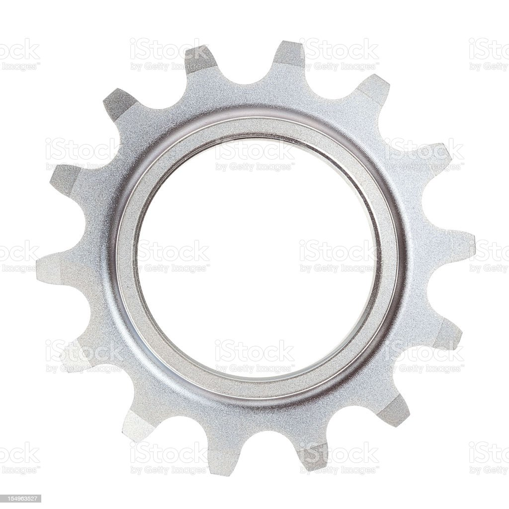 A single metal cog on a white background royalty-free stock photo