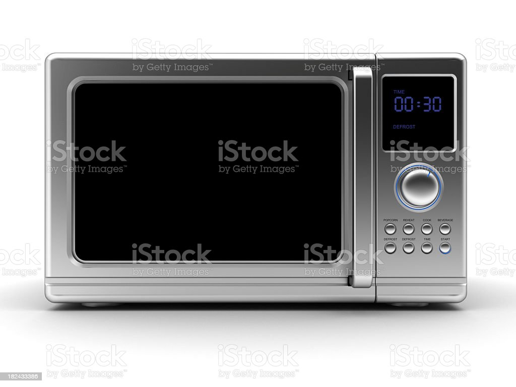Single metallic gray microwave with black elements stock photo