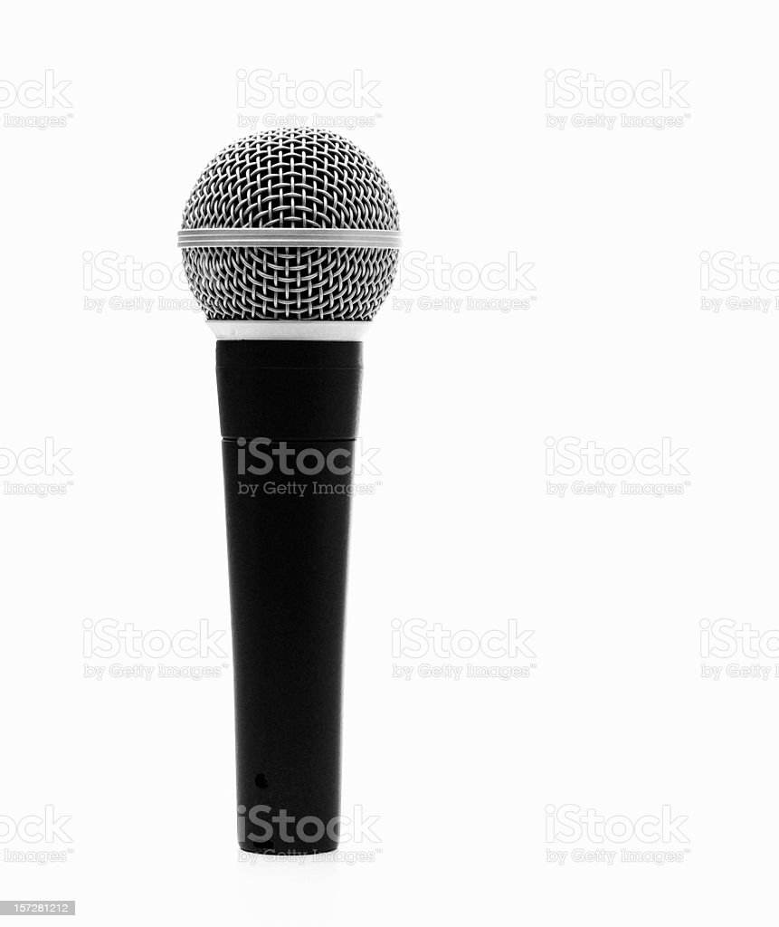 Single Microphone on White Background stock photo