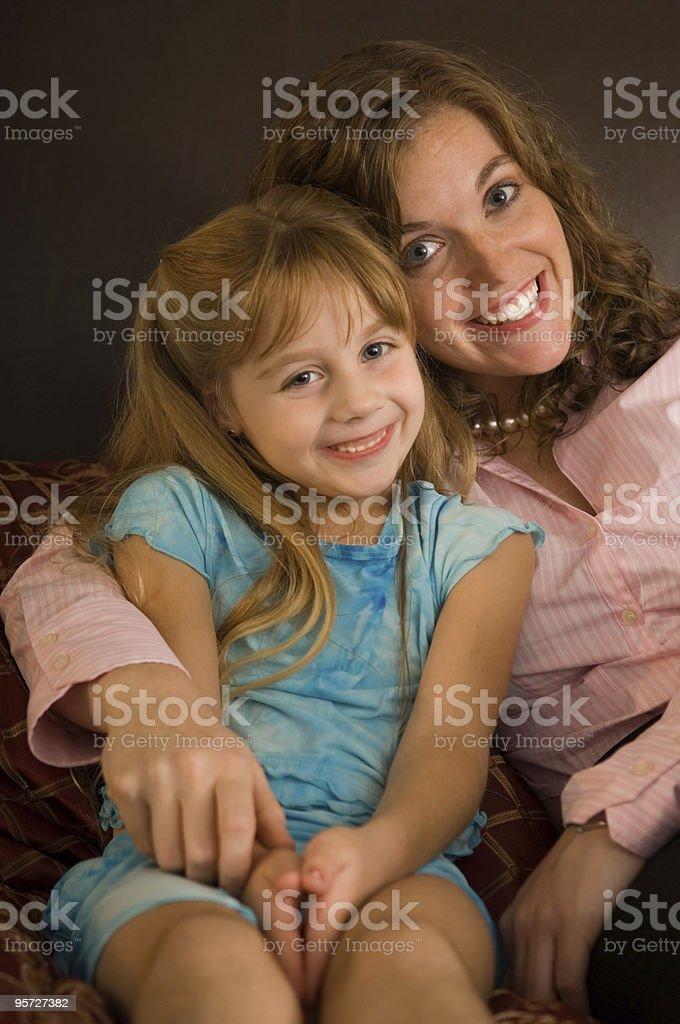 Single Mom At Bedtime royalty-free stock photo