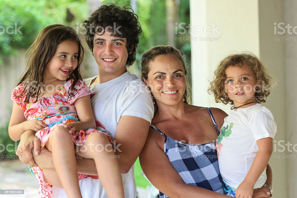 Single mother and children stock photo