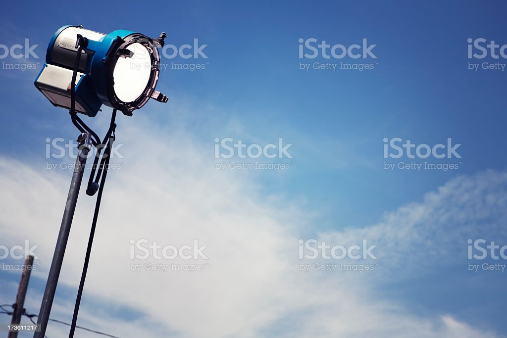 A single movie light with a sky background stock photo