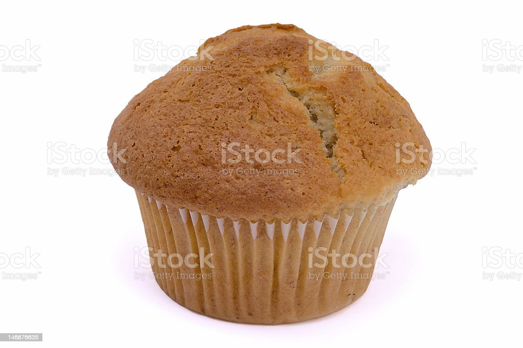Single muffin on white background. stock photo
