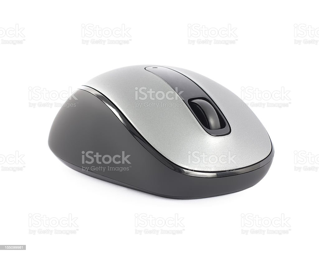 Single new silver computer mouse isolated on white royalty-free stock photo