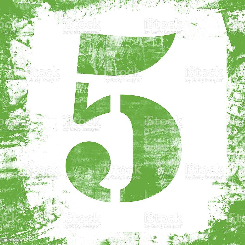 Single Number 5 Stamp, Grunge Design royalty-free stock photo