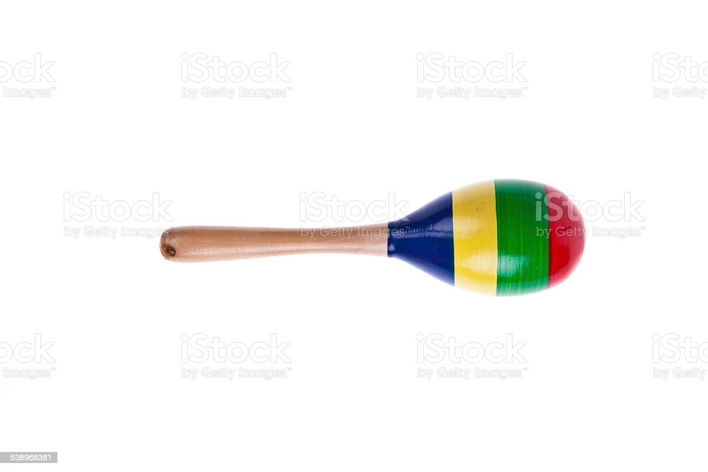 Single of colorful wooden maracas isolated on white background stock photo