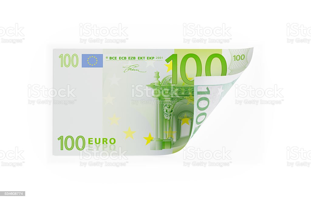 Single One Hundred Euro Bill on White stock photo