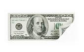 Single One Hundred US Dollar Bill on White