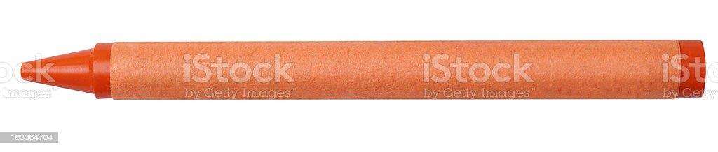 Single Orange Color Crayon Isolated on White Background stock photo