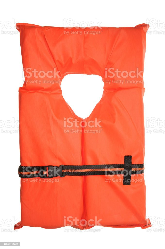 A single orange life vest on a white background stock photo