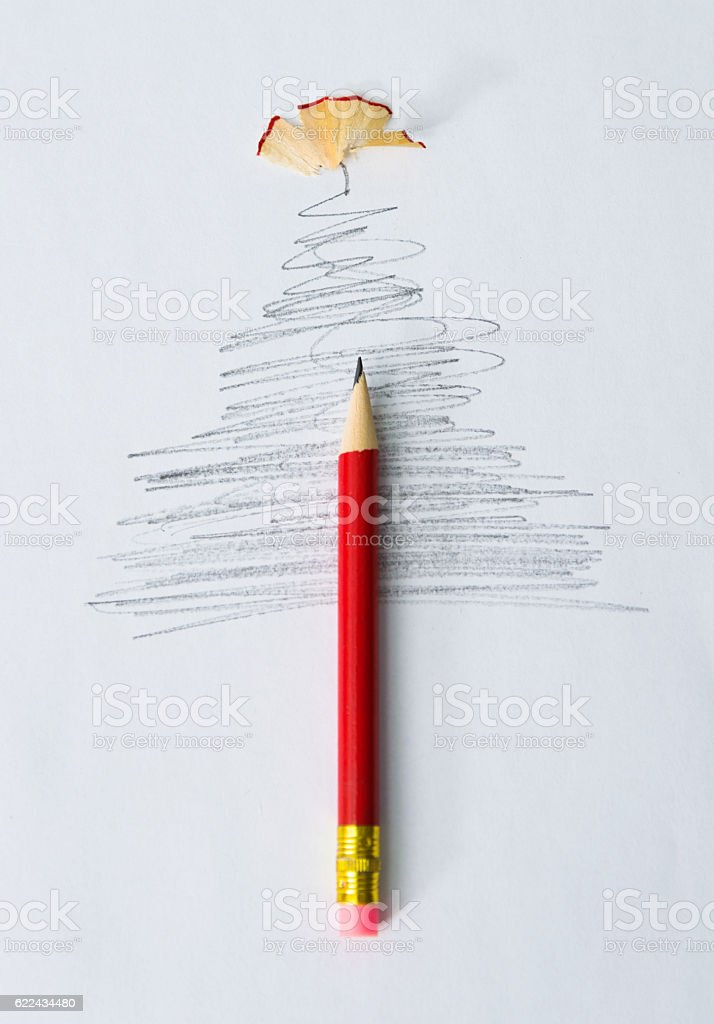 Single pencil and christmas tree sketch stock photo