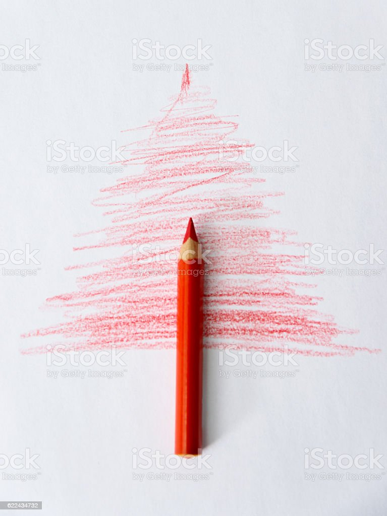 Single pencil and christmas tree sketch stock photo