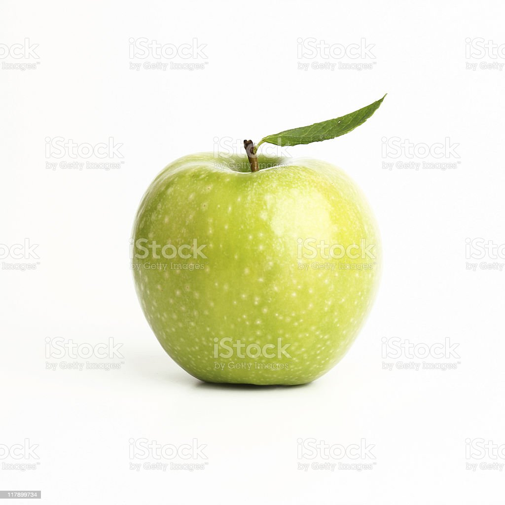 Single perfect green apple on a white background stock photo