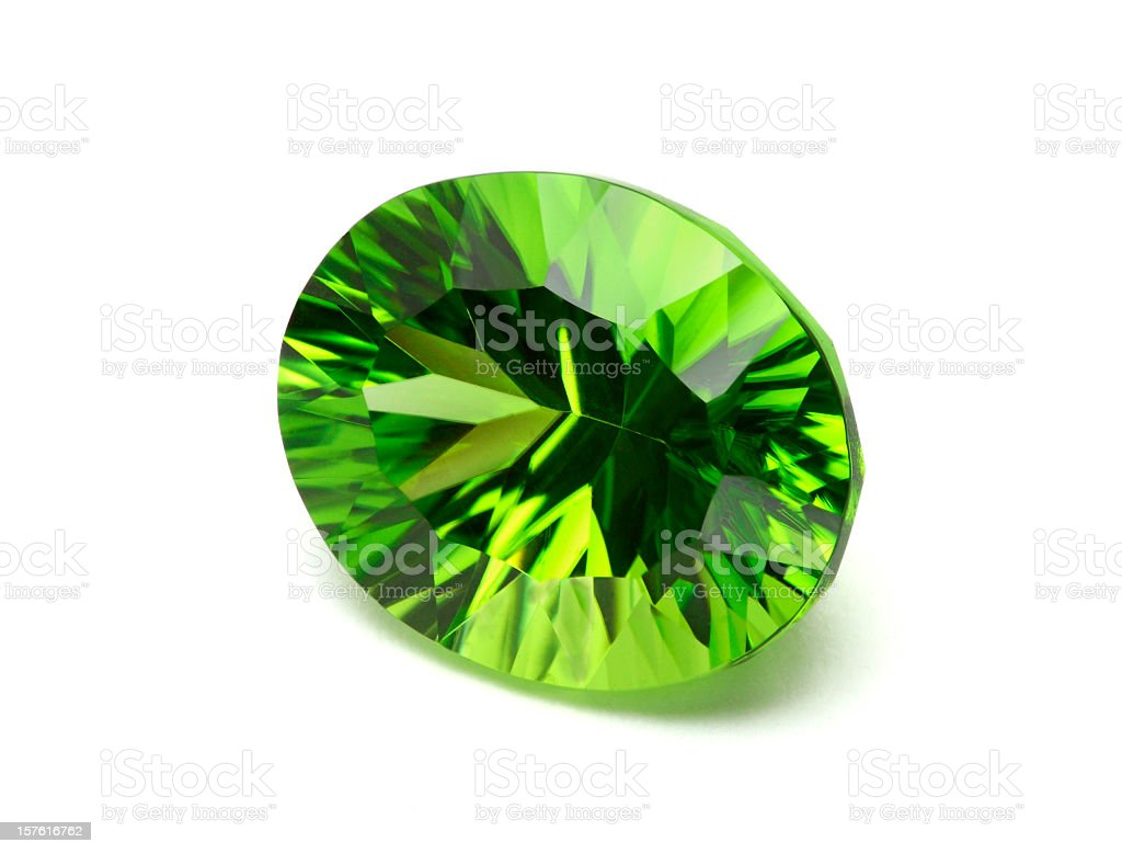 A single peridotite Chysolite gemstone royalty-free stock photo