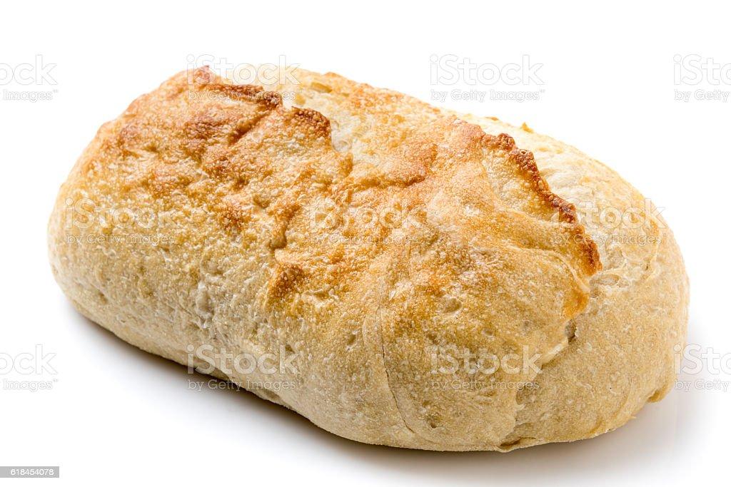 Single piece of artisan sourdough bread on white background stock photo