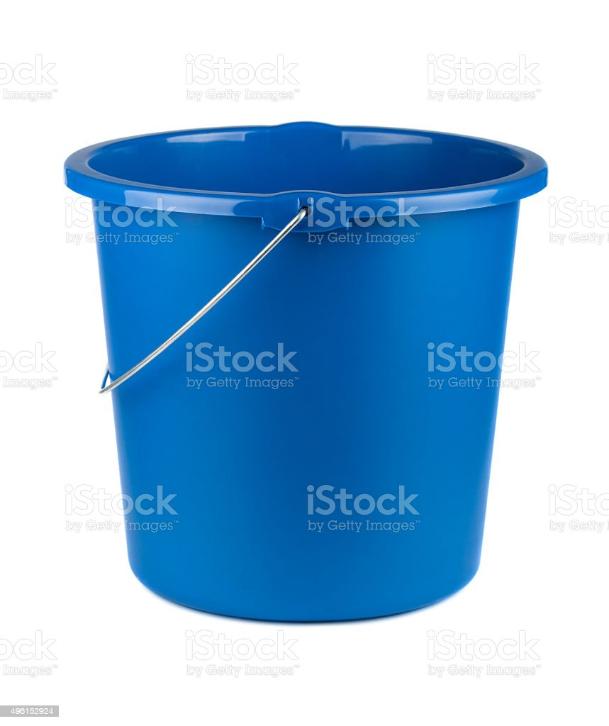 Single plastic blue bucket stock photo