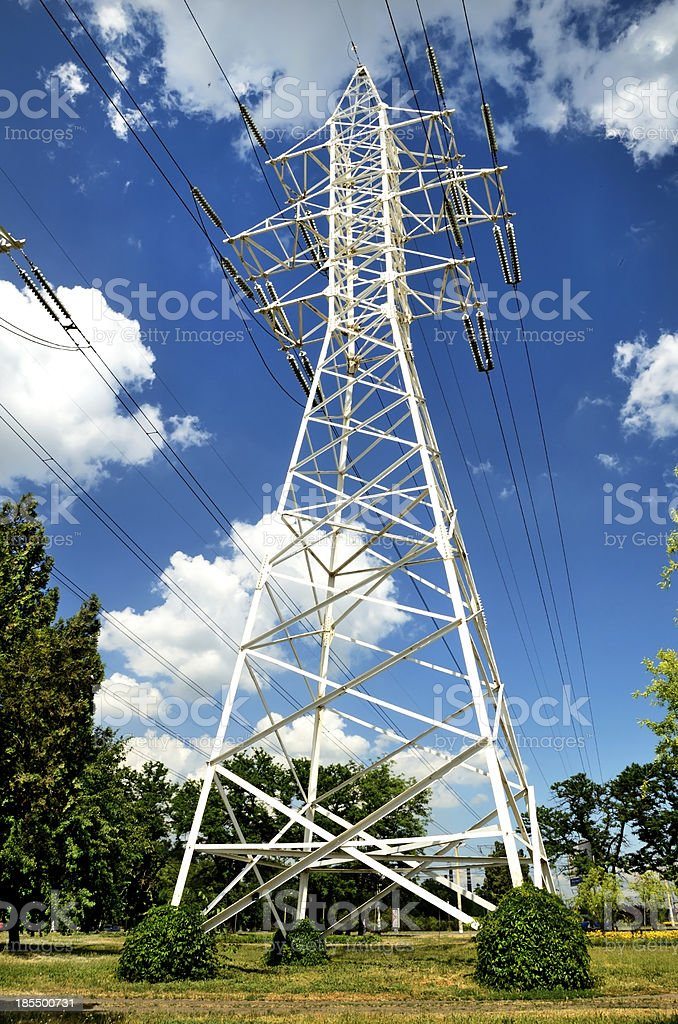 Single pole with power lines royalty-free stock photo