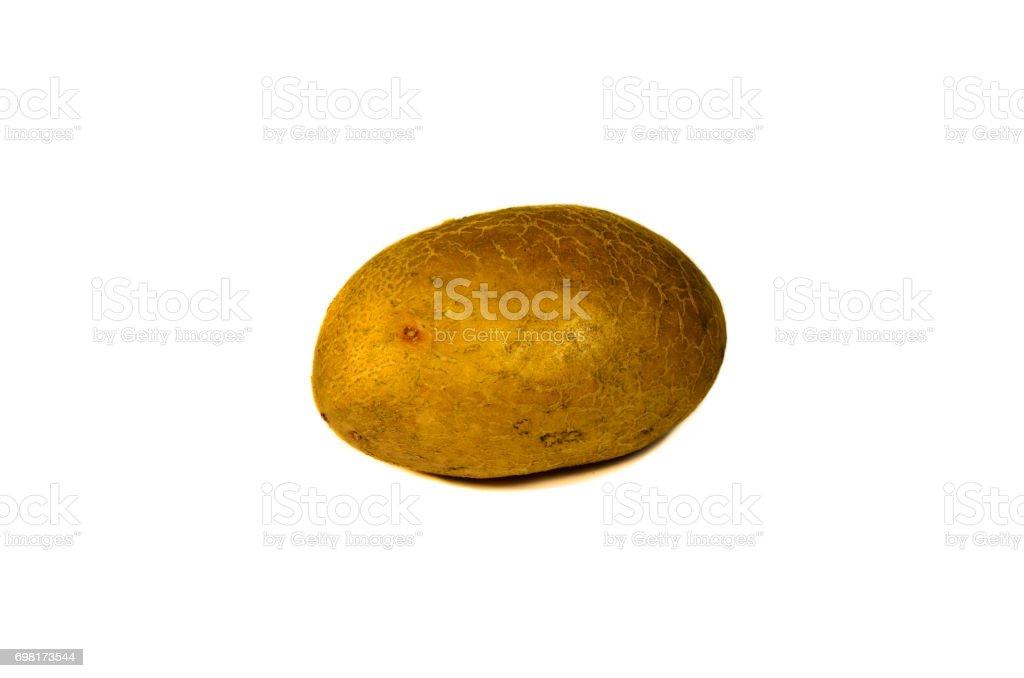 Single potato isolated on white stock photo
