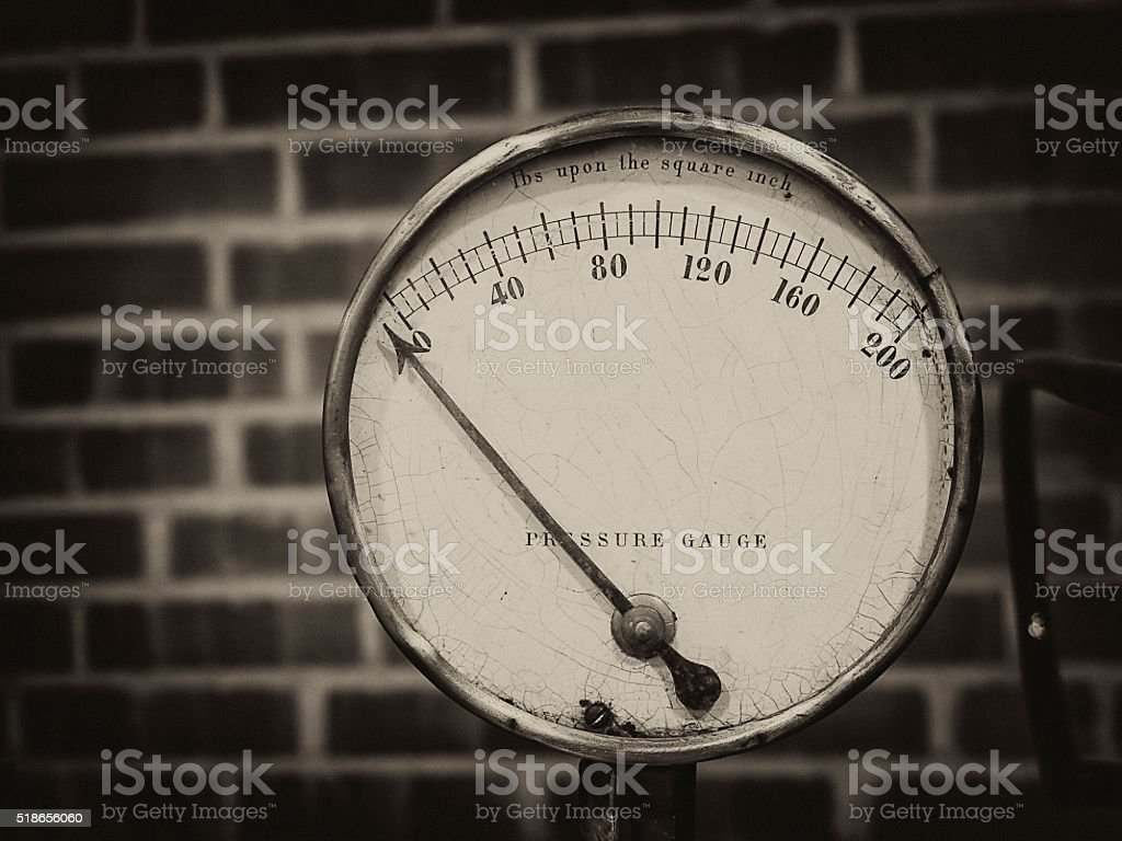 Single pressure gauge black and white stock photo