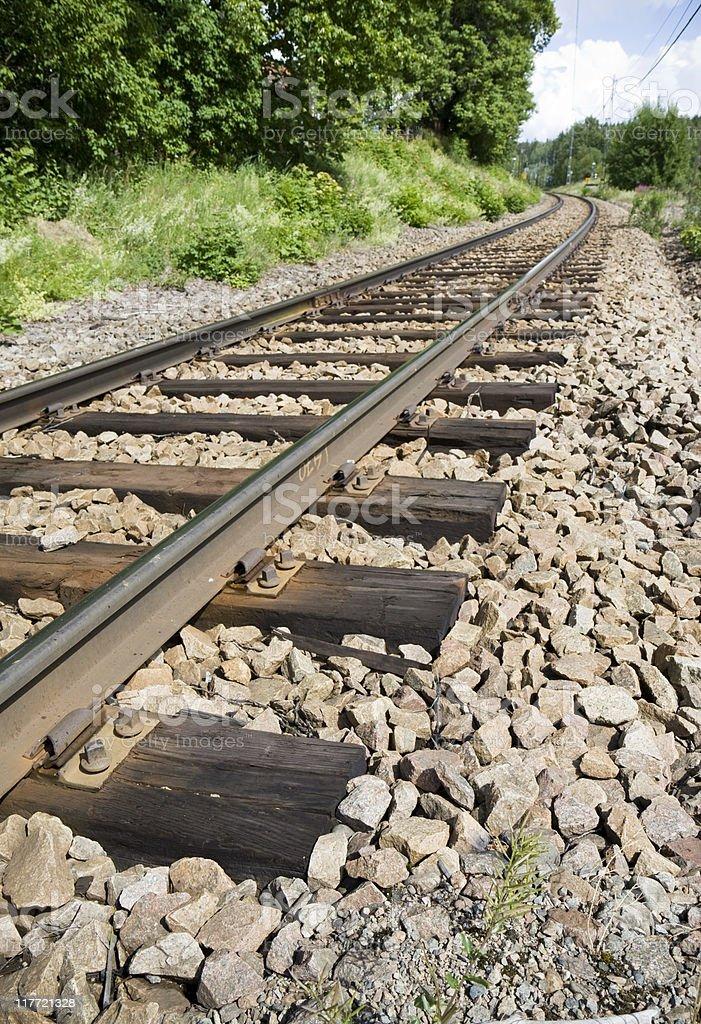 Single railroad track stock photo