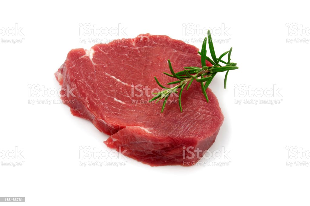 Single Raw Steak stock photo