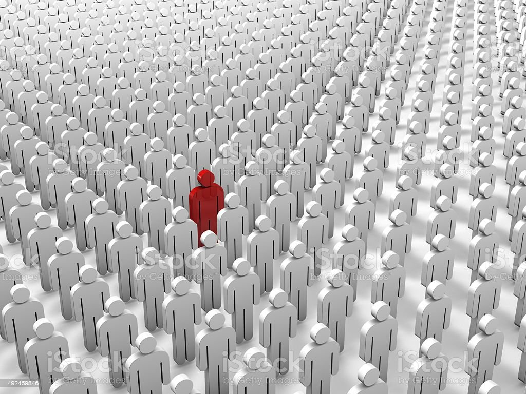 Single red 3D people figure in group of white figures. stock photo