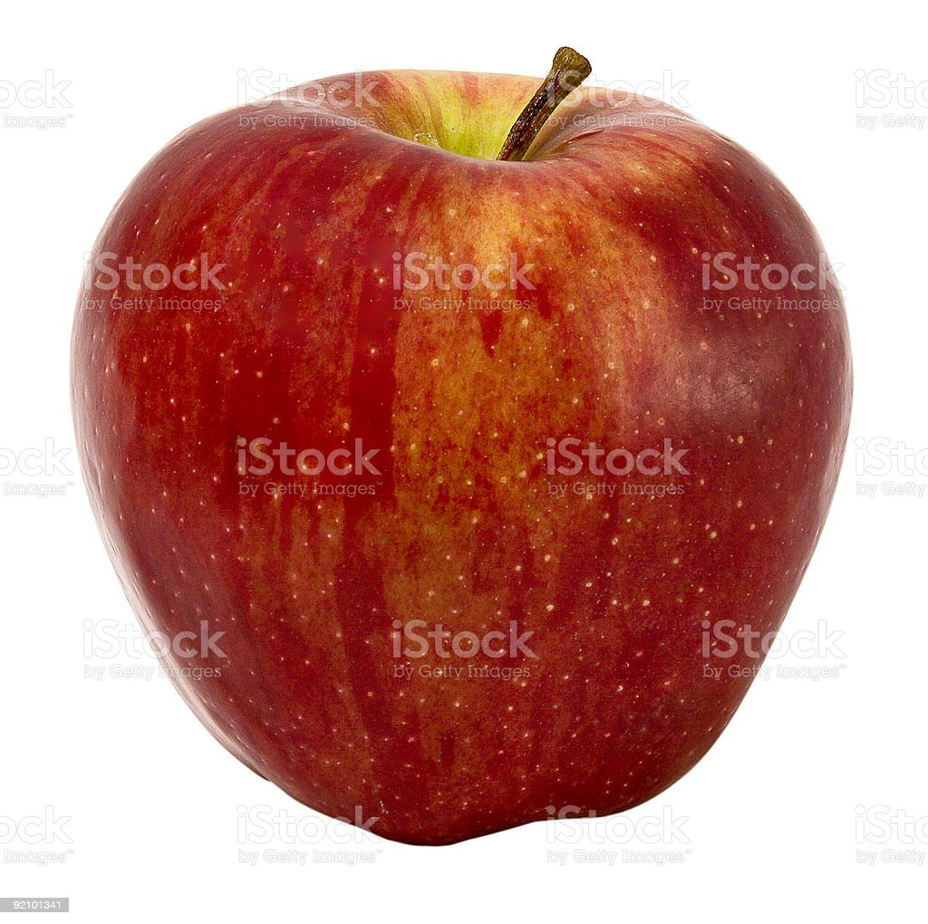 Single red apple isolated on white background stock photo