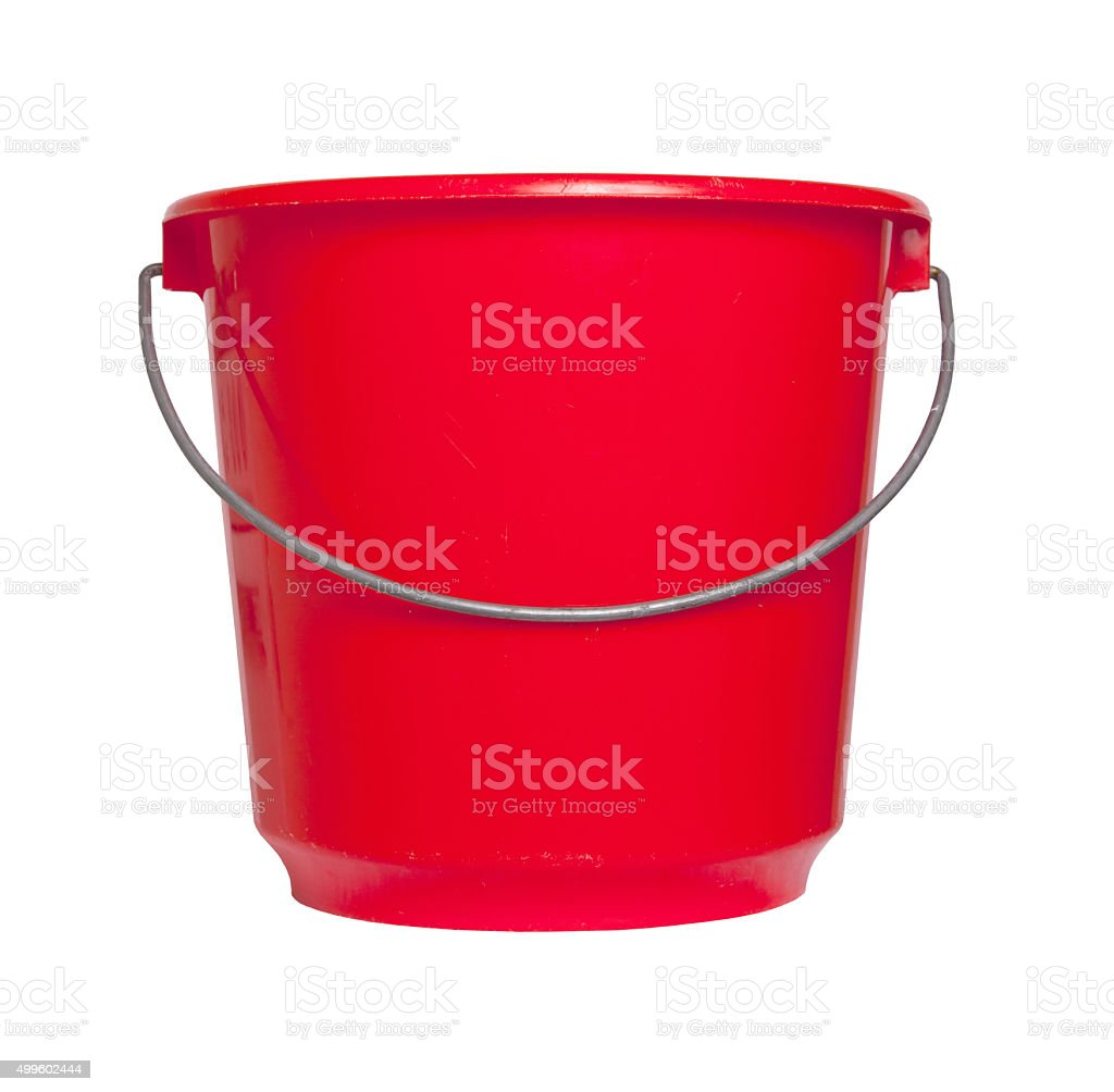 Single red bucket isolated stock photo