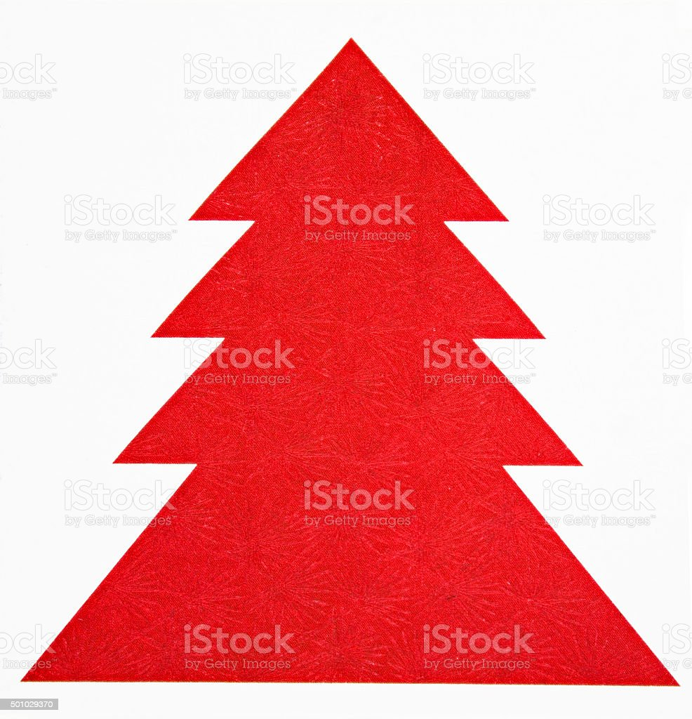 single red Christmas tree made of paper for highlighting stock photo