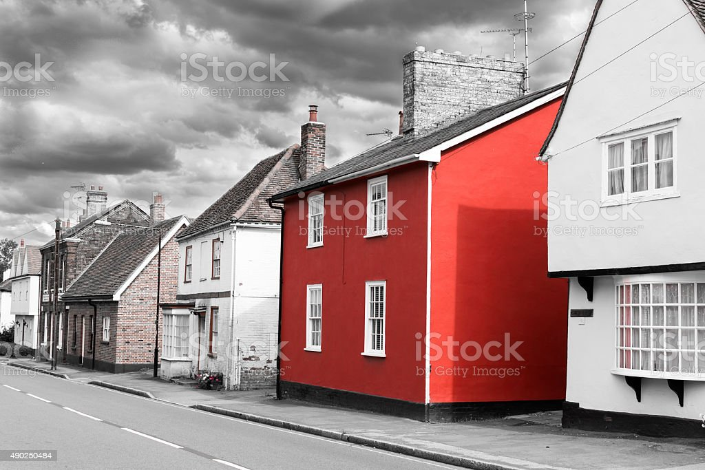 Single Red Painted House stock photo