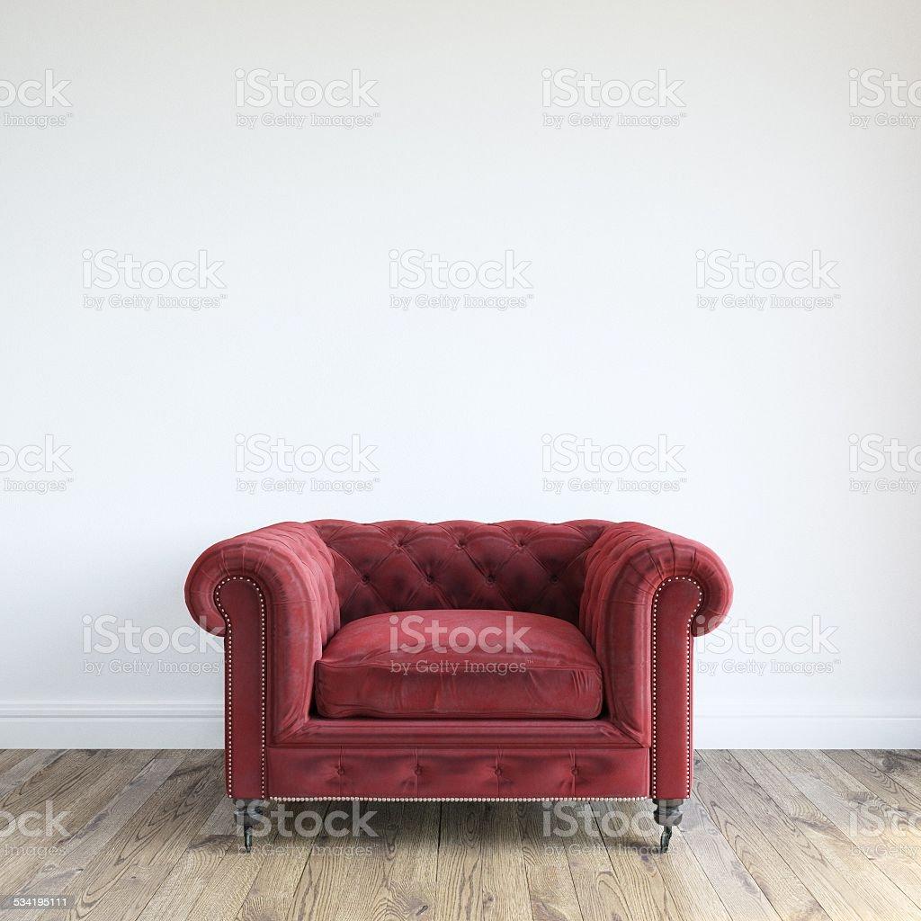 Single Red Velvet Armchair In Minimalist Interior Room stock photo