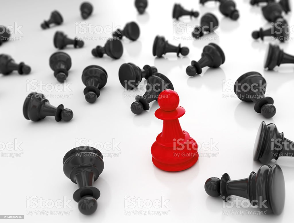 Single redn pawn. Last one standing Business strategy concept ba stock photo