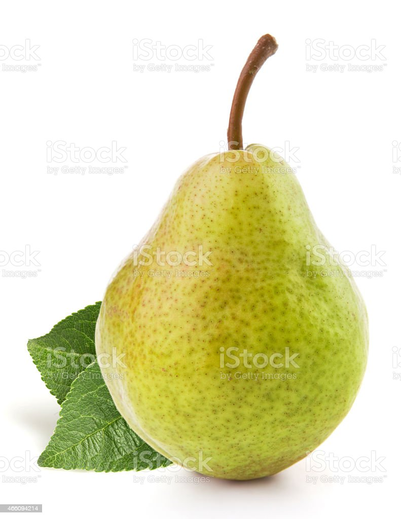 Single ripe pear with leaves on a white background stock photo