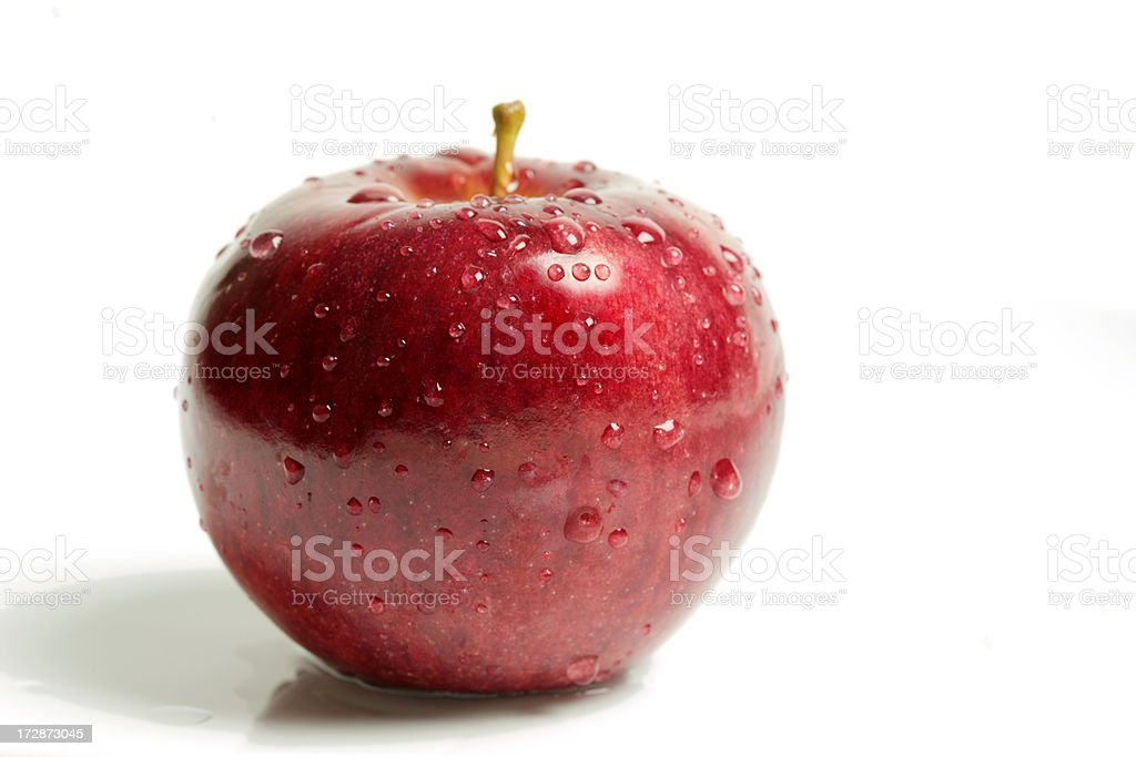 Single Rosy red apple stock photo