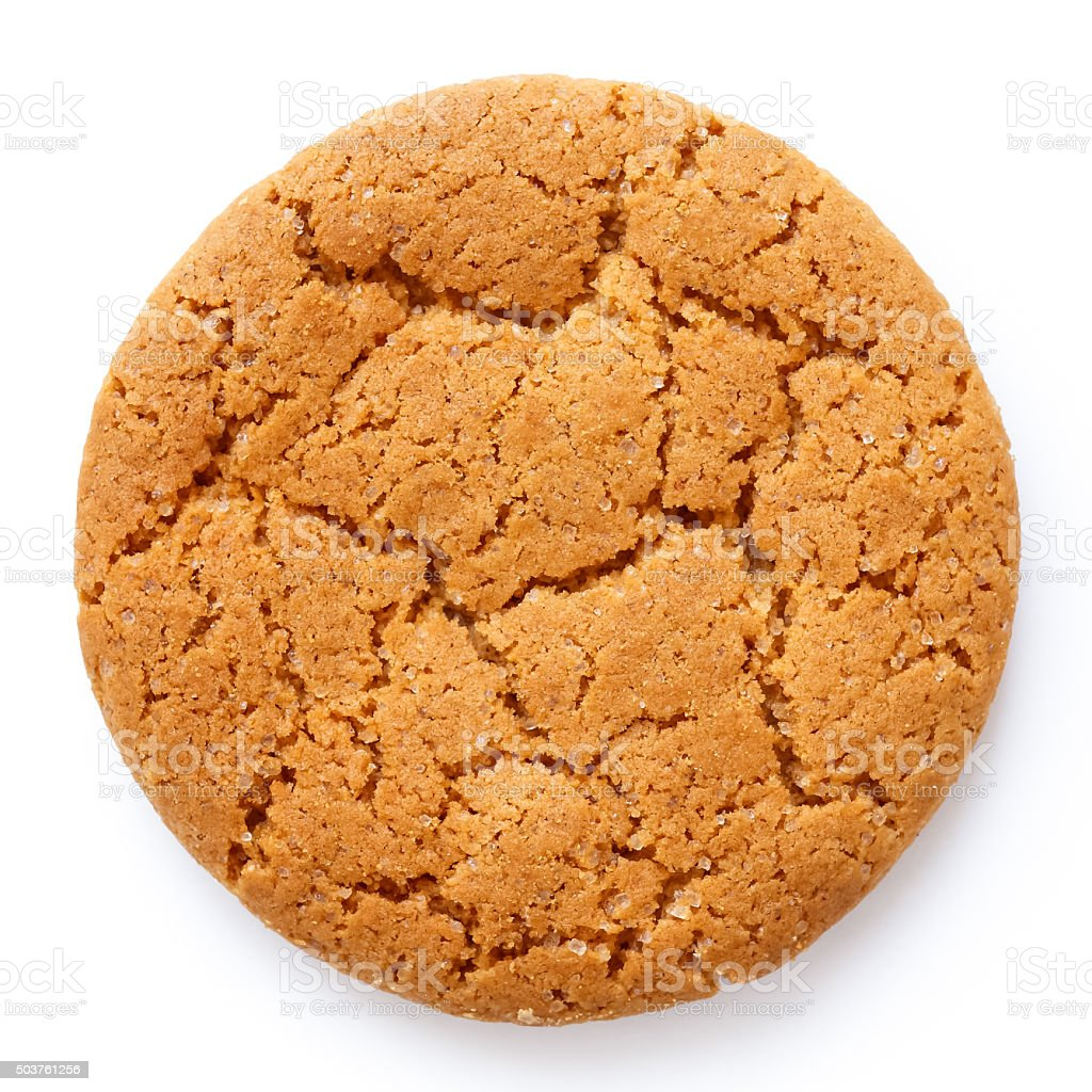 Single round ginger biscuit isolated on white from above. stock photo