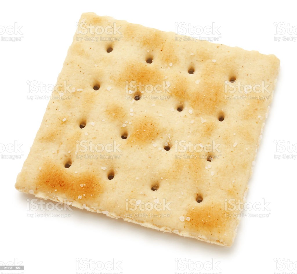 Single salted cracker stock photo