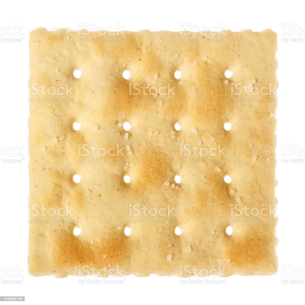Single salted cracker (with path) stock photo