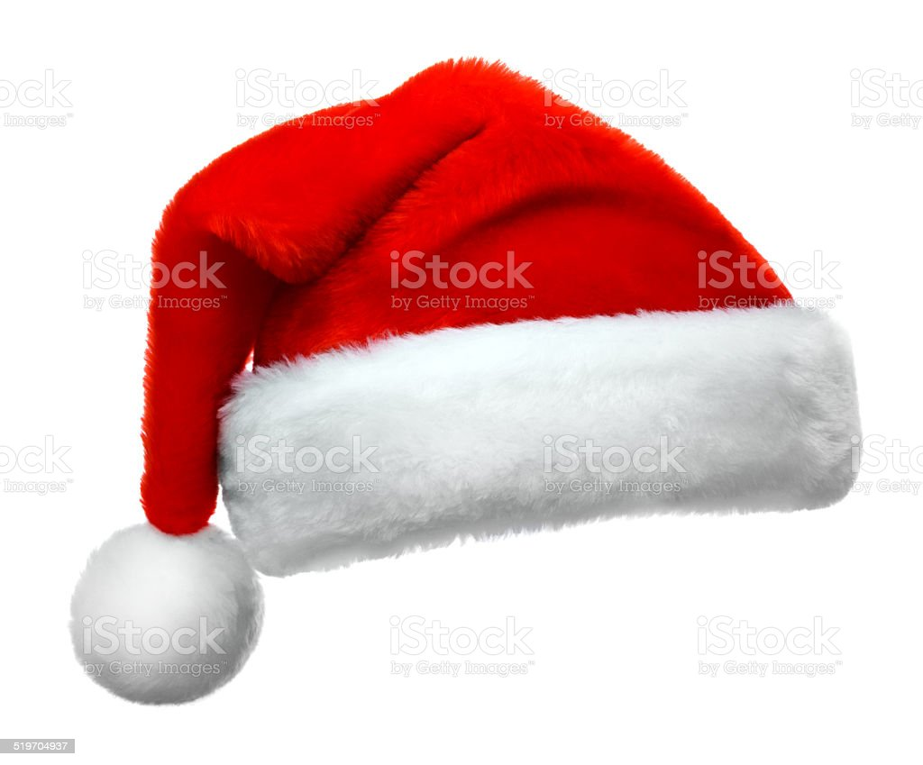 Single Santa Claus red hat isolated on white background stock photo