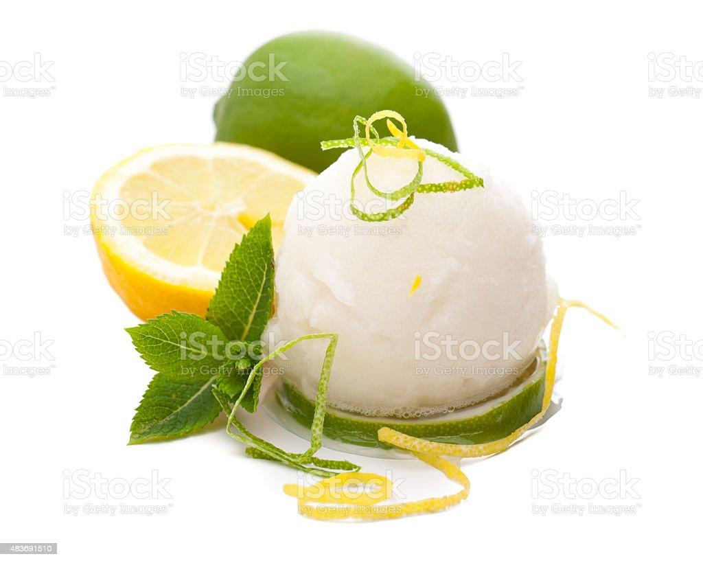 single scoop of lemon ice cream with lemons and decoration stock photo