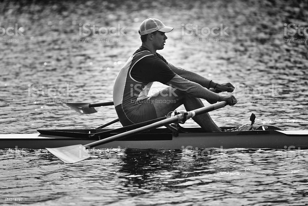 Single scull racer stock photo