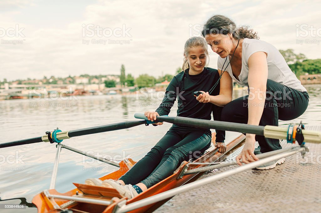 Single Scull Rowing. stock photo