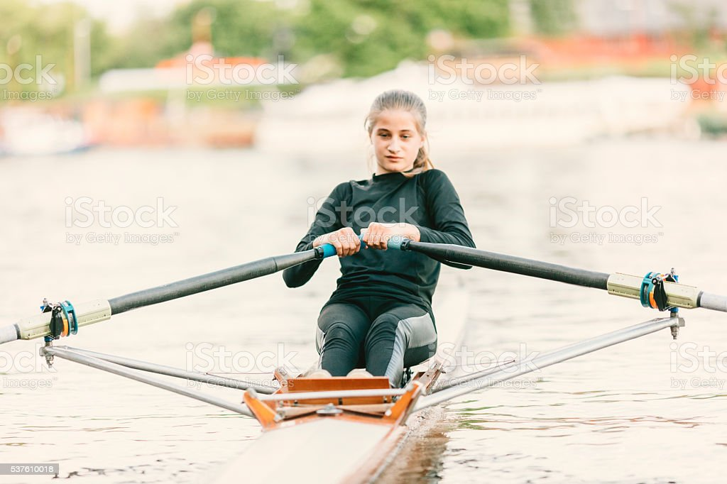 Single Scull Rowing stock photo