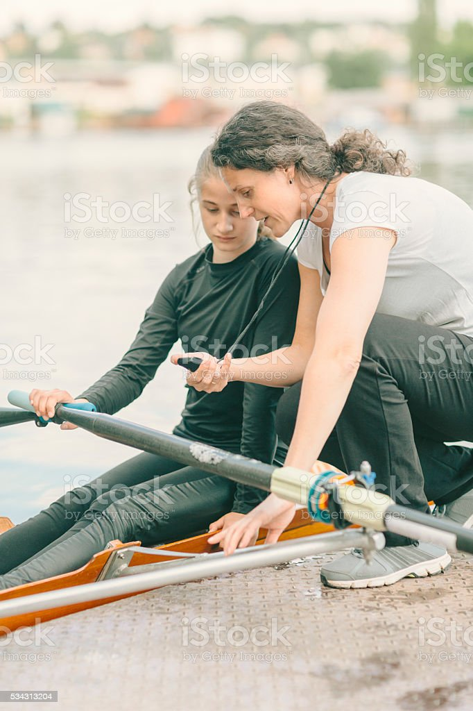 Single Scull Rowing Training. stock photo