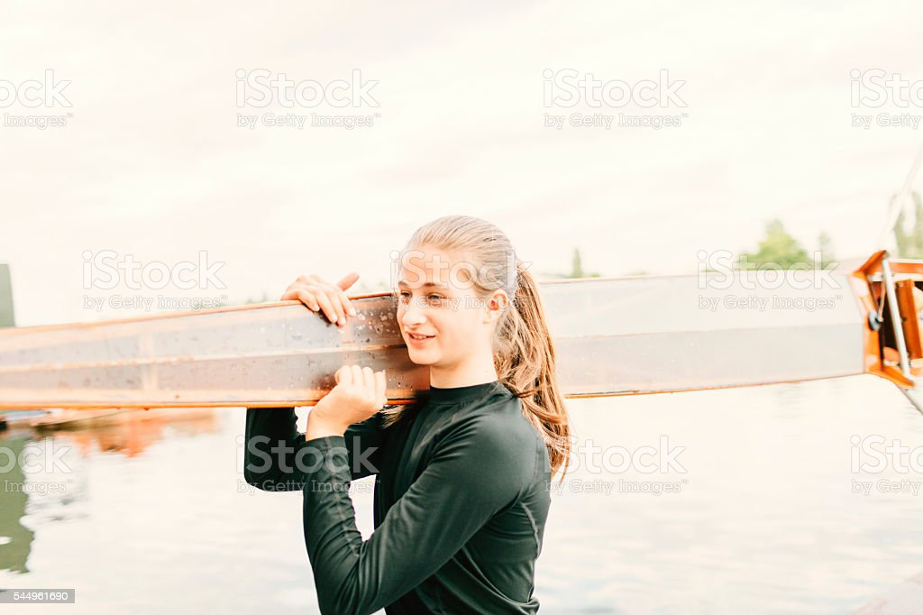 Single Scull Rowing Training stock photo