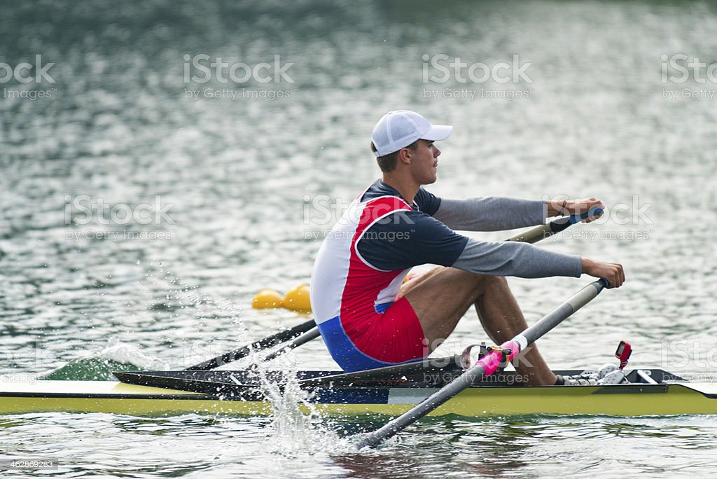 Single scull sport rowing stock photo