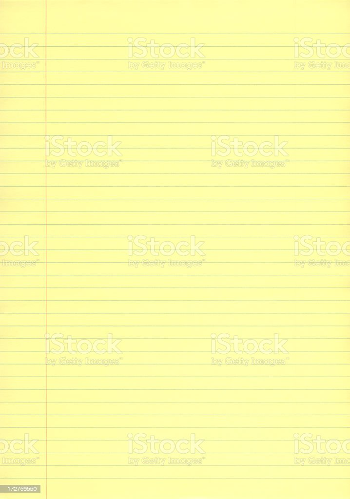 Single sheet of yellow business lined paper stock photo