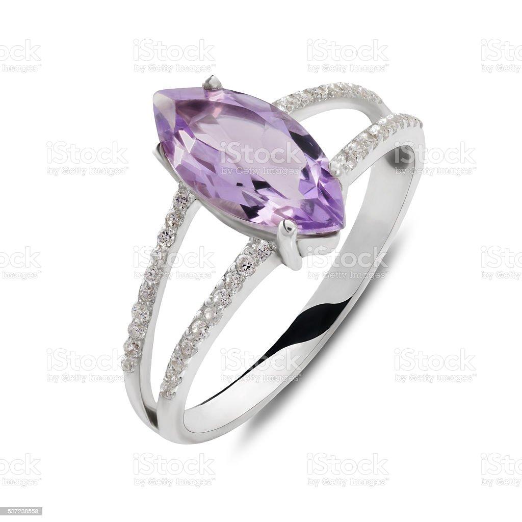 Single silver ring with cat eye shaped gemstone stock photo