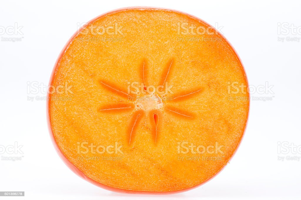 single slice of kaki isolated on white background stock photo
